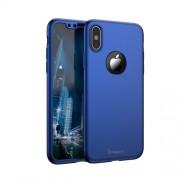 IPAKY 360 μοιρών Σκληρή Θήκη Ματ με Βελούδινη Υφή Πρόσοψης και Πλάτης με Σκληρυμένο Γυαλί για iPhone X - Σκούρο Μπλε