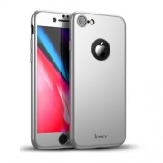 IPAKY 360 μοιρών Σκληρή Θήκη Ματ με Βελούδινη Υφή Πρόσοψης και Πλάτης με Σκληρυμένο Γυαλί για iPhone 8 - Ασημί
