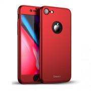 IPAKY 360 μοιρών Σκληρή Θήκη Ματ με Βελούδινη Υφή Πρόσοψης και Πλάτης με Σκληρυμένο Γυαλί για iPhone 8 - Κόκκινο