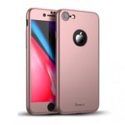 IPAKY 360 μοιρών Σκληρή Θήκη Ματ με Βελούδινη Υφή Πρόσοψης και Πλάτης με Σκληρυμένο Γυαλί για iPhone 8 - Ροζέ Χρυσαφί