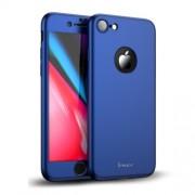 IPAKY 360 μοιρών Σκληρή Θήκη Ματ με Βελούδινη Υφή Πρόσοψης και Πλάτης με Σκληρυμένο Γυαλί για iPhone 8 - Μπλε