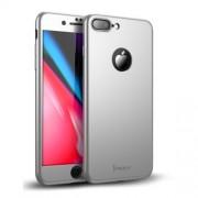 IPAKY 360 μοιρών Σκληρή Θήκη Ματ με Βελούδινη Υφή Πρόσοψης και Πλάτης με Σκληρυμένο Γυαλί για iPhone 8 Plus - Ασημί