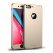 IPAKY 360 μοιρών Σκληρή Θήκη Ματ με Βελούδινη Υφή Πρόσοψης και Πλάτης με Σκληρυμένο Γυαλί για iPhone 8 Plus - Χρυσαφί