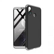GKK 360 μοιρών Σκληρή Θήκη Ματ με Βελούδινη Υφή Πρόσοψης και Πλάτης για Xiaomi Mi Max 3 - Μαύρο / Ασημί