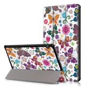 Δερμάτινη Θήκη Βιβλίο Tri-Fold με Βάση Στήριξης Huawei MediaPad T5 10 - Πεταλούδες και Λουλούδια