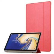 Δερμάτινη Θήκη Βιβλίο Tri-Fold με Βάση Στήριξης με Διάφανη Πλάτη για Samsung Galaxy Tab S4 10.5 T830/T835 - Κόκκινο