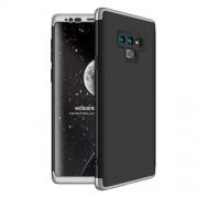 GKK 360 μοιρών Σκληρή Θήκη Ματ με Βελούδινη Υφή Πρόσοψης και Πλάτης για Samsung Galaxy Note 9 SM-N960 - Μαύρο/Ασημί