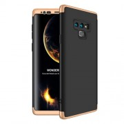 GKK 360 μοιρών Σκληρή Θήκη Ματ με Βελούδινη Υφή Πρόσοψης και Πλάτης για Samsung Galaxy Note 9 SM-N960 - Μαύρο/Χρυσαφί