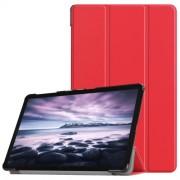 Δερμάτινη Θήκη Βιβλίο Tri-Fold Smart Cover με Βάση Στήριξης για Samsung Galaxy Tab A 10.5 (2018) T590 T595 - Κόκκινο