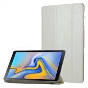 Δερμάτινη Θήκη Βιβλίο Tri-Fold με Βάση Στήριξης με Διάφανη Πλάτη για Samsung Galaxy Tab A 10.5 (2018) T590 T595 - Λευκό
