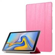 Δερμάτινη Θήκη Βιβλίο Tri-Fold με Βάση Στήριξης με Διάφανη Πλάτη για Samsung Galaxy Tab A 10.5 (2018) T590 T595 - Φούξια