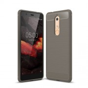 Carbon Fibre Brushed TPU Back Case for Nokia 5.1 - Grey