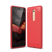 Θήκη Σιλικόνης TPU Carbon Fiber Brushed για Nokia 5.1 - Κόκκινο
