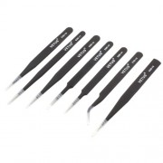 VETUS 7-in-1 High Strength Precision Stainless Steel Professional Tweezers Set