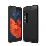 For Meizu Pro 7 Carbon Fiber Texture Brushed TPU Phone Cover - Black