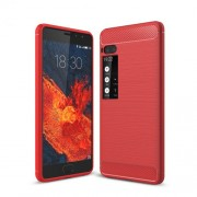 For Meizu Pro 7 Carbon Fiber Texture Brushed TPU Phone Case - Red