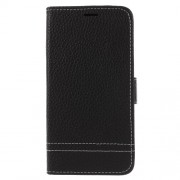 Litchi Texture Wallet Stand Leather Phone Case for Meizu A5/M5c - Black