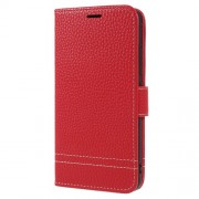 Δερμάτινη Θήκη Πορτοφόλι με Βάση Στήριξης για Meizu M5c / A5 - Κόκκινο