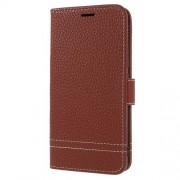 Litchi Texture Wallet Stand Leather Mobile Phone Shell for Meizu A5/M5c - Brown