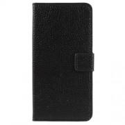 Δερμάτινη Θήκη Πορτοφόλι με Βάση Στήριξης για Motorola Moto E5 Plus - Μαύρο