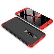 GKK 360 μοιρών Σκληρή Θήκη Ματ με Βελούδινη Υφή Πρόσοψης και Πλάτης για Nokia 6.1 (5.5-inch) - Μαύρο / Κόκκινο