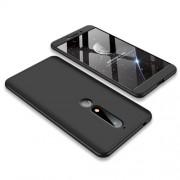 GKK 360 μοιρών Σκληρή Θήκη Ματ με Βελούδινη Υφή Πρόσοψης και Πλάτης για Nokia 6.1 (5.5-inch) - Μαύρο
