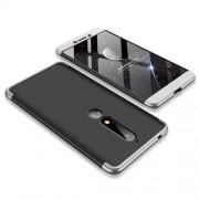 GKK 360 μοιρών Σκληρή Θήκη Ματ με Βελούδινη Υφή Πρόσοψης και Πλάτης για Nokia 6.1 (5.5-inch) - Μαύρο / Ασημί