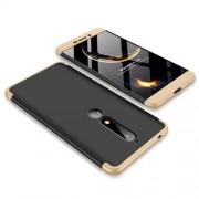 GKK 360 μοιρών Σκληρή Θήκη Ματ με Βελούδινη Υφή Πρόσοψης και Πλάτης για Nokia 6.1 (5.5-inch) - Μαύρο / Χρυσό
