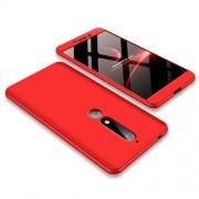 GKK 360 μοιρών Σκληρή Θήκη Ματ με Βελούδινη Υφή Πρόσοψης και Πλάτης για Nokia 6.1 (5.5-inch) - Κόκκινο