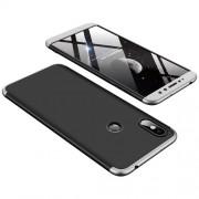 GKK 360 μοιρών Σκληρή Θήκη Ματ με Βελούδινη Υφή Πρόσοψης και Πλάτης για Xiaomi Redmi S2 / Redmi Y2 - Μαύρο / Ασημι