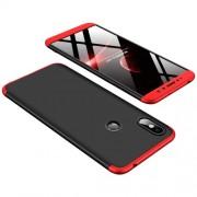 GKK 360 μοιρών Σκληρή Θήκη Ματ με Βελούδινη Υφή Πρόσοψης και Πλάτης για Xiaomi Redmi S2 / Redmi Y2 - Μαύρο / Κόκκινο