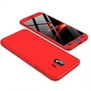GKK 360 μοιρών Σκληρή Θήκη Ματ με Βελούδινη Υφή Πρόσοψης και Πλάτης για Samsung Galaxy J4 (2018) - Κόκκινο