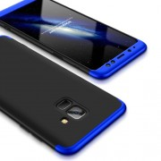 GKK 360 μοιρών Σκληρή Θήκη Ματ με Βελούδινη Υφή Πρόσοψης και Πλάτης για Samsung Galaxy A8 (2018) - Μαύρο / Μπλε