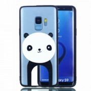 Embossment Pattern Rubberized TPU + PC Hybrid Case for Samsung Galaxy S9 SM-G960 - Panda