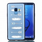 Embossment Pattern Rubberized TPU + PC Hybrid Shell Case for Samsung Galaxy S9 SM-G960 - Feather and Arrow