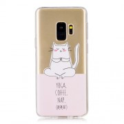 Pattern Printing TPU Back Casing for Samsung Galaxy S9 G960 - Yoga Coffee Nap