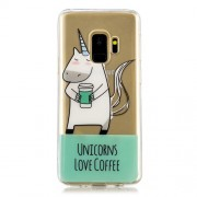 Pattern Printing IMD TPU Back Case for Samsung Galaxy S9 SM-G960 - Unicorns Love Coffee