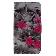 Patterned Wallet Stand Leather Magnetic Case for Samsung Galaxy J1 mini prime - Red Blooming Flowers