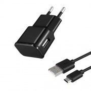 USB Travel Charger + Micro USB Data Transfer Charging Cable for Huawei Xiaomi - Black