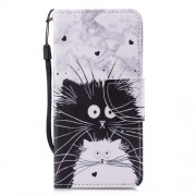 Cross Texture Pattern Printing Wallet Stand Leather Mobile Shell for Huawei P20 Lite/Nova 3e - Black and White Cat