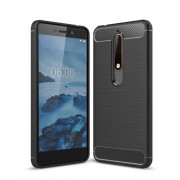 Carbon Fibre Brushed TPU Case for Nokia 6.1 (5.5-inch) - Black