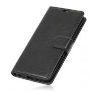 Δερμάτινη Θήκη Πορτοφόλι με Βάση Στήριξης για Motorola Moto G6 Plus - Μαύρο