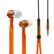 Shoelaces Earphone Stereo Headphones Headset Music Earpieces with Microphone for iPhone Xiaomi Samsung Sport - Orange