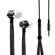 Shoelaces Earphone Stereo Metal Bass Headset Music Earpieces with Microphone for iPhone Xiaomi Samsung Sport - Black