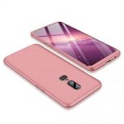 GKK 360 μοιρών Σκληρή Θήκη Ματ με Βελούδινη Υφή Πρόσοψης και Πλάτης για OnePlus 6 - Ροζέ Χρυσαφί