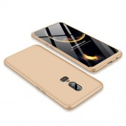 GKK 360 μοιρών Σκληρή Θήκη Ματ με Βελούδινη Υφή Πρόσοψης και Πλάτης για OnePlus 6 - Χρυσαφί