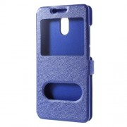 For Meizu M6 Silk Texture Dual Window Stand Leather Phone Accessory Shell - Blue