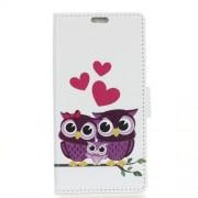 Δερμάτινη Θήκη Πορτοφόλι με Βάση Στήριξης για Xiaomi Mi 8 - Ερωτευμένο Ζευγάρι Κουκουβαγιών με το Παιδάκι τους