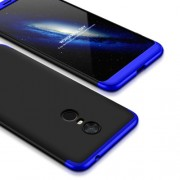 GKK 360 μοιρών Σκληρή Θήκη Ματ με Βελούδινη Υφή Πρόσοψης και Πλάτης για Xiaomi Redmi 5 Plus - Μαύρο/Μπλε