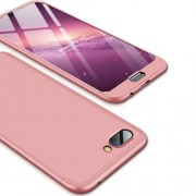 GKK 360 μοιρών Σκληρή Θήκη Ματ με Βελούδινη Υφή Πρόσοψης και Πλάτης για Huawei Honor 10 - Ροζέ Χρυσαφί